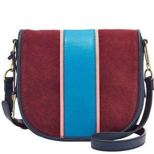 NWT Fossil Rumi Striped Crossbody Leather & Suede
